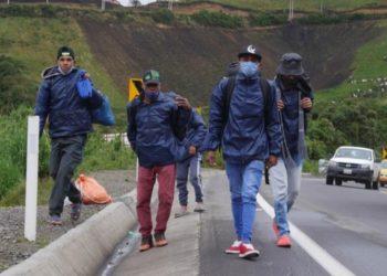 Venezolanos caminan hacia otros países
